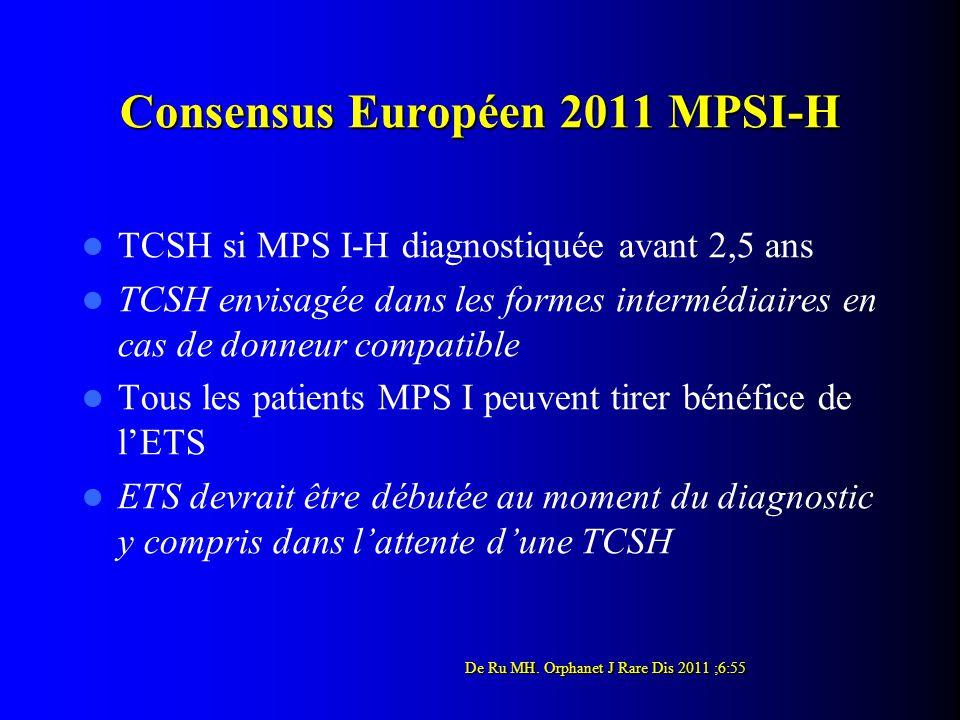 Consensus Européen 2011 MPSI-H TCSH si MPS I-H diagnostiquée avant 2,5 ans TCSH envisagée dans les formes intermédiaires en cas de donneur compatible Tous les patients MPS I peuvent tirer bénéfice de l'ETS ETS devrait être débutée au moment du diagnostic y compris dans l'attente d'une TCSH De Ru MH.