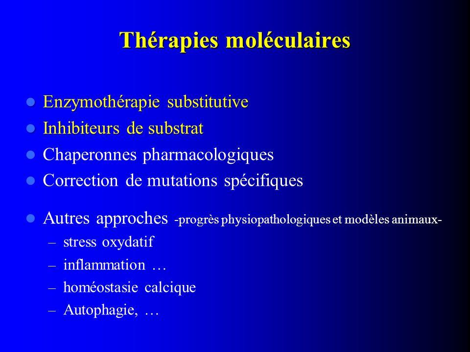 Enzymothérapie substitutive Enzymothérapie substitutive Inhibiteurs de substrat Inhibiteurs de substrat Chaperonnes pharmacologiques Correction de mut