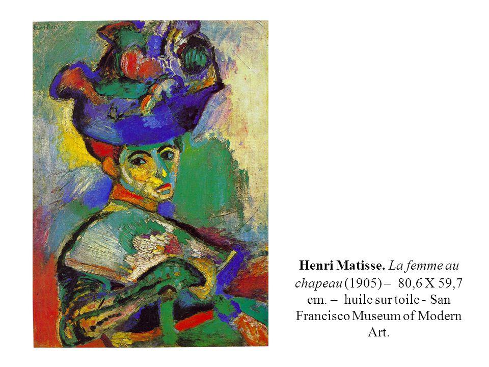 Henri Matisse. La femme au chapeau (1905) – 80,6 X 59,7 cm. – huile sur toile - San Francisco Museum of Modern Art.