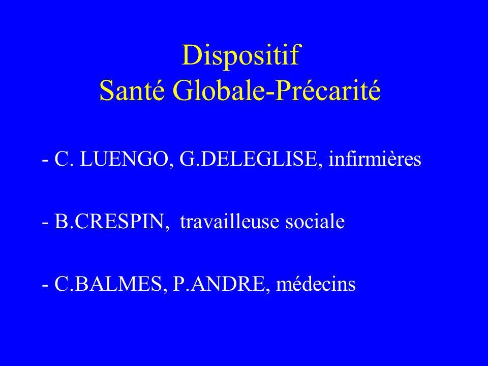 Dispositif Santé Globale-Précarité - C. LUENGO, G.DELEGLISE, infirmières - B.CRESPIN, travailleuse sociale - C.BALMES, P.ANDRE, médecins