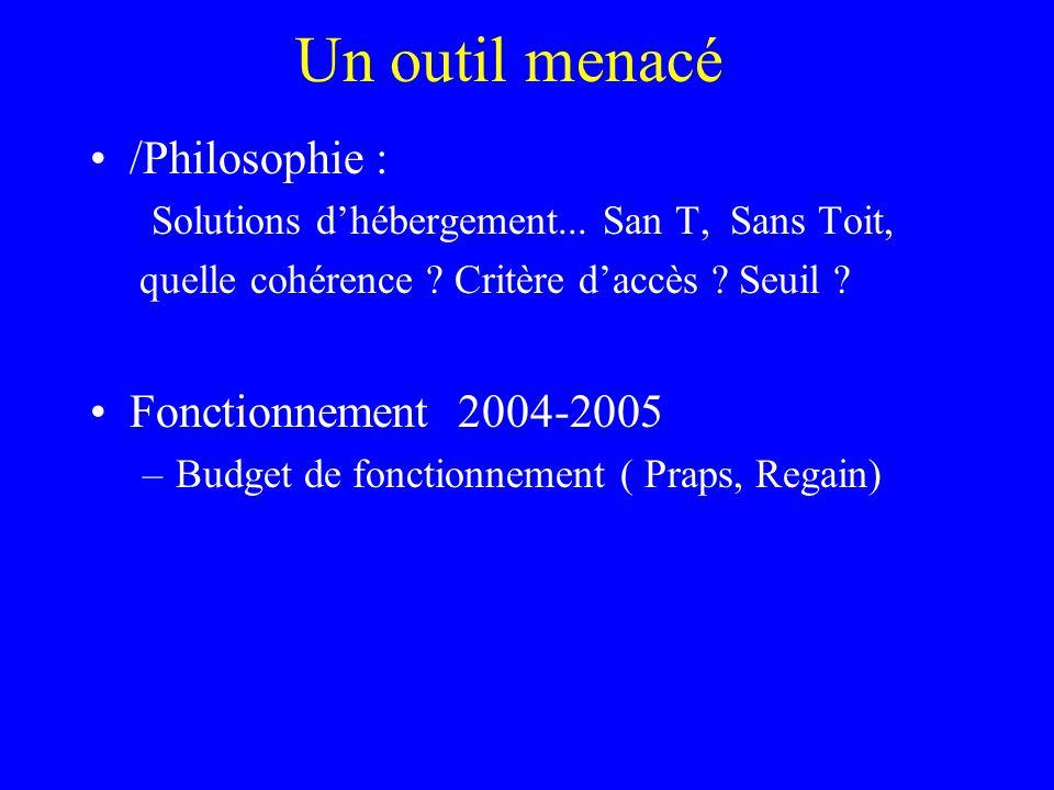 /Philosophie : Solutions d'hébergement... San T, Sans Toit, quelle cohérence ? Critère d'accès ? Seuil ? Fonctionnement 2004-2005 –Budget de fonctionn