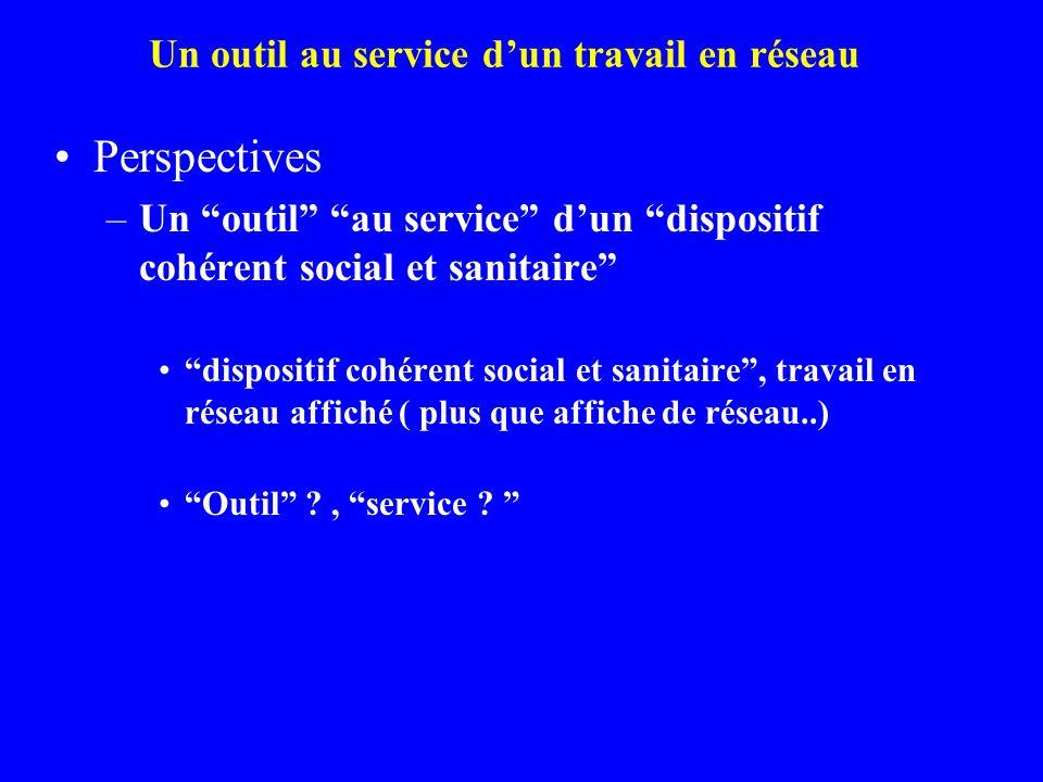 """Perspectives –Un """"outil"""" """"au service"""" d'un """"dispositif cohérent social et sanitaire"""" """"dispositif cohérent social et sanitaire"""", travail en réseau affi"""
