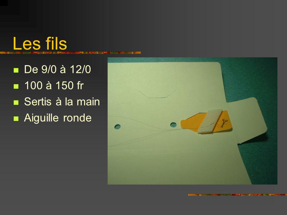 Les fils De 9/0 à 12/0 100 à 150 fr Sertis à la main Aiguille ronde