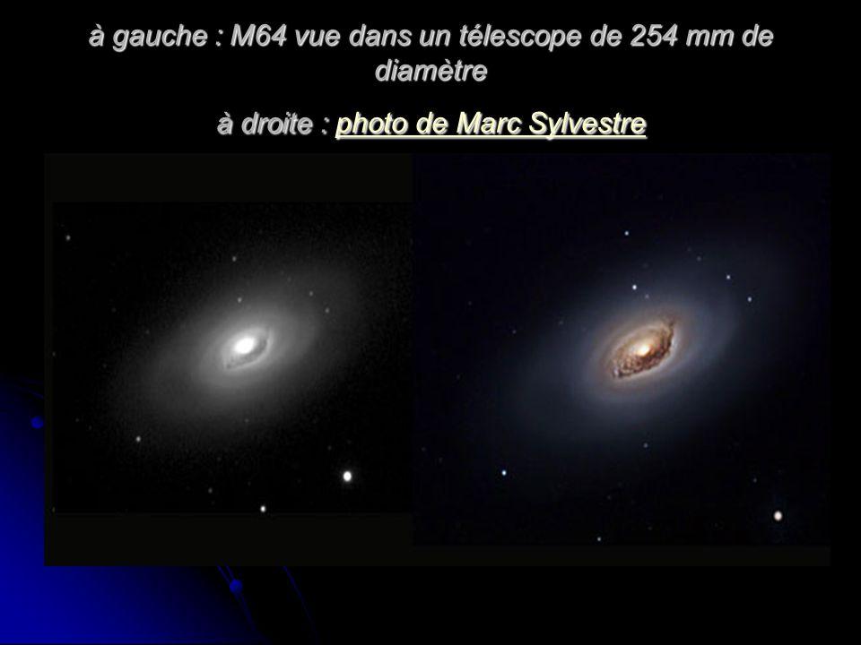 à gauche : M64 vue dans un télescope de 254 mm de diamètre à droite : photo de Marc Sylvestre photo de Marc Sylvestrephoto de Marc Sylvestre
