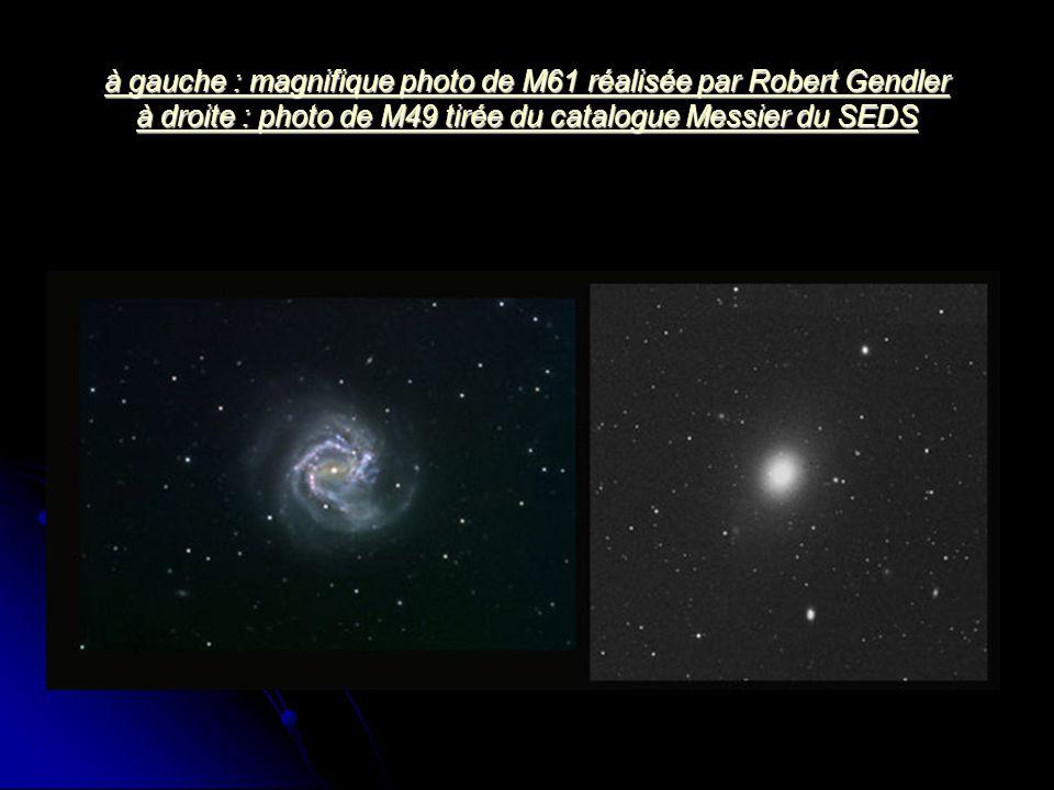 à gauche : magnifique photo de M61 réalisée par Robert Gendler à droite : photo de M49 tirée du catalogue Messier du SEDS à gauche : magnifique photo