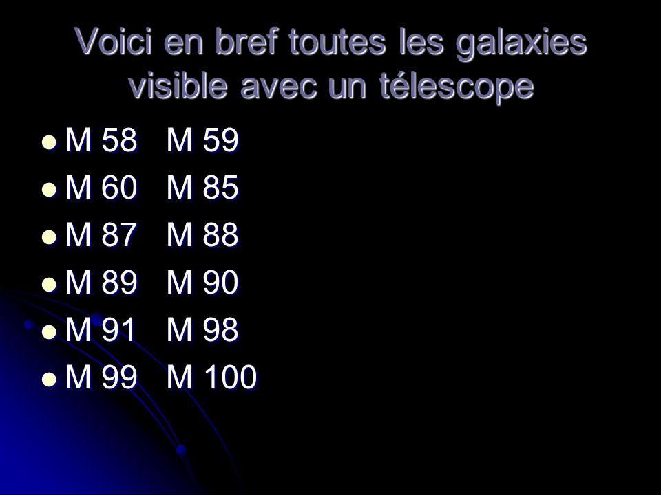 Voici en bref toutes les galaxies visible avec un télescope M 58 M 59 M 58 M 59 M 60 M 85 M 60 M 85 M 87 M 88 M 87 M 88 M 89 M 90 M 89 M 90 M 91 M 98