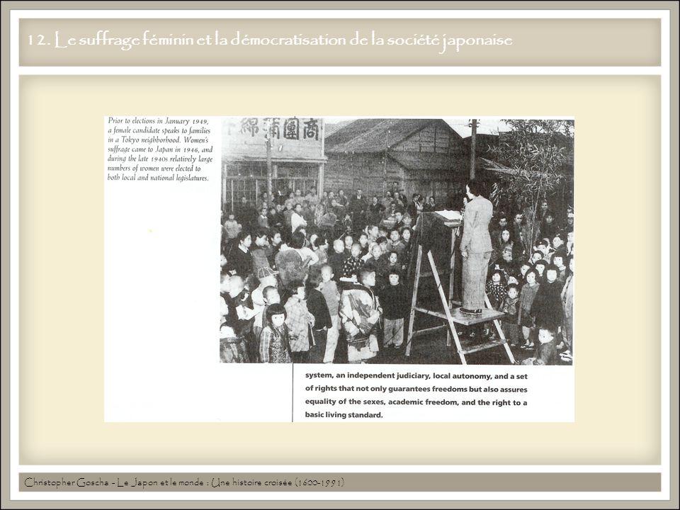 12. Le suffrage féminin et la démocratisation de la société japonaise Christopher Goscha - Le Japon et le monde : Une histoire croisée (1600-1991)