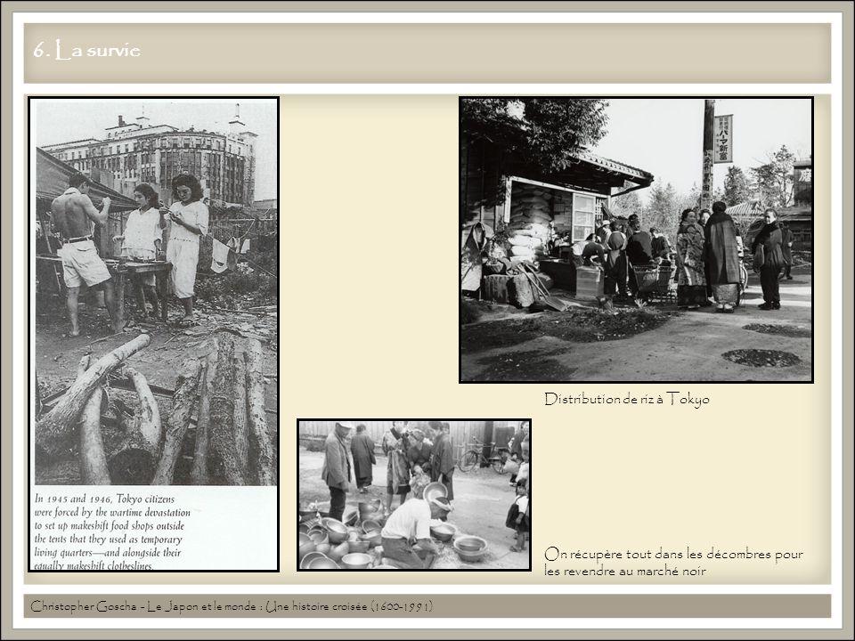 6. La survie Christopher Goscha - Le Japon et le monde : Une histoire croisée (1600-1991) Distribution de riz à Tokyo On récupère tout dans les décomb