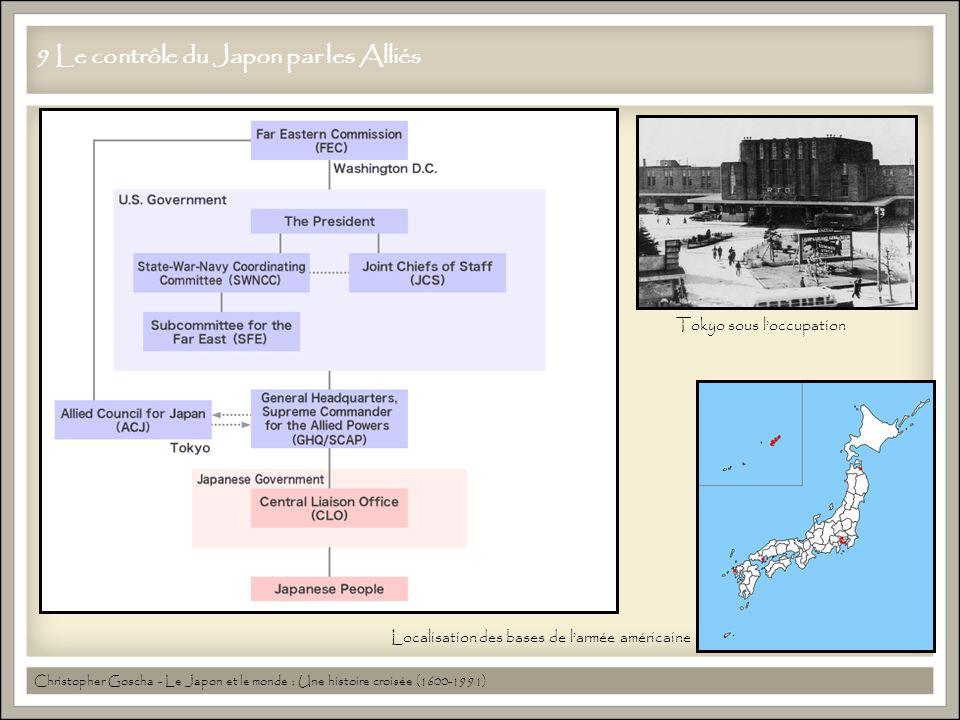 9 Le contrôle du Japon par les Alliés Christopher Goscha - Le Japon et le monde : Une histoire croisée (1600-1991) Localisation des bases de l'armée américaine Tokyo sous l'occupation