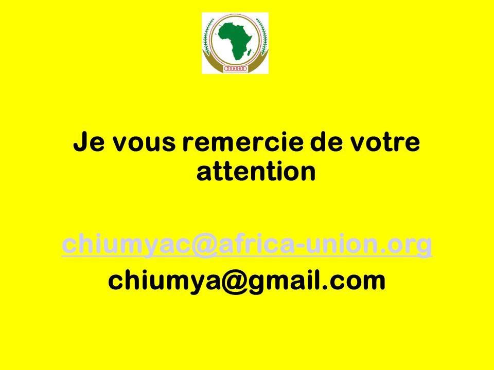 Je vous remercie de votre attention chiumyac@africa-union.org chiumya@gmail.com