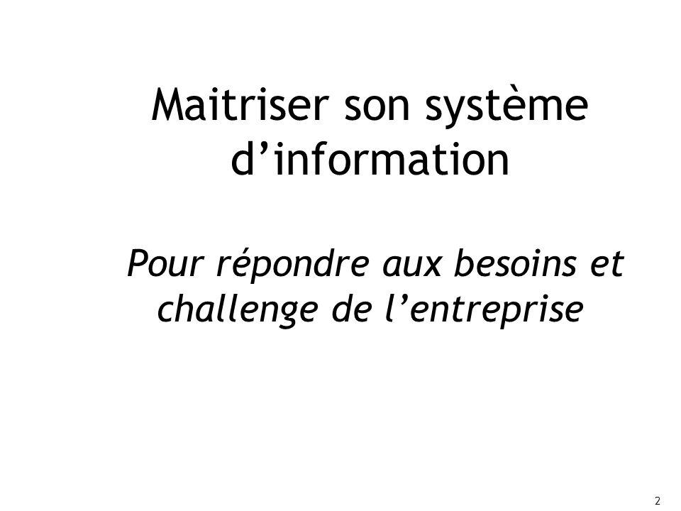 2 2 Maitriser son système d'information Pour répondre aux besoins et challenge de l'entreprise
