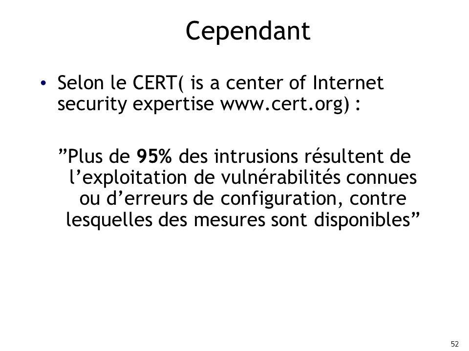 52 Cependant Selon le CERT( is a center of Internet security expertise www.cert.org) : Plus de 95% des intrusions résultent de l'exploitation de vulnérabilités connues ou d'erreurs de configuration, contre lesquelles des mesures sont disponibles