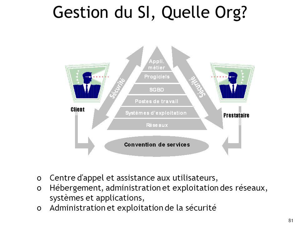 81 Gestion du SI, Quelle Org.