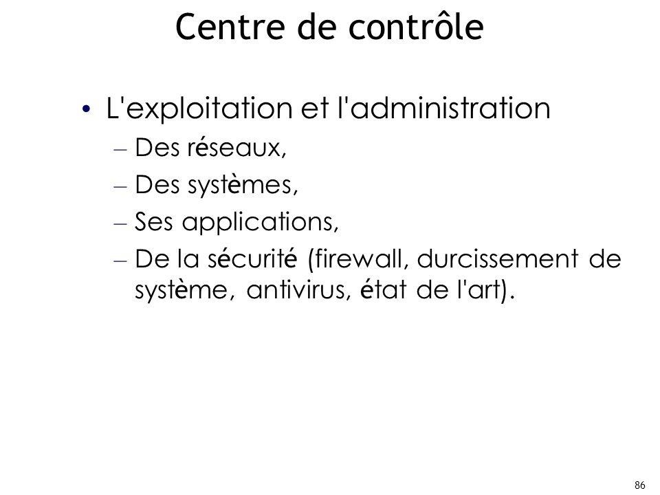 86 Centre de contrôle L exploitation et l administration – Des r é seaux, – Des syst è mes, – Ses applications, – De la s é curit é (firewall, durcissement de syst è me, antivirus, é tat de l art).