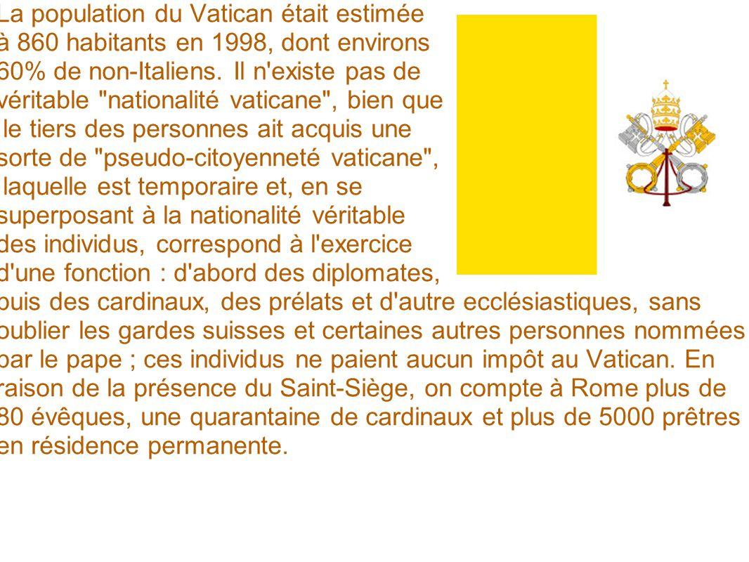La population du Vatican était estimée à 860 habitants en 1998, dont environs 60% de non-Italiens. Il n'existe pas de véritable