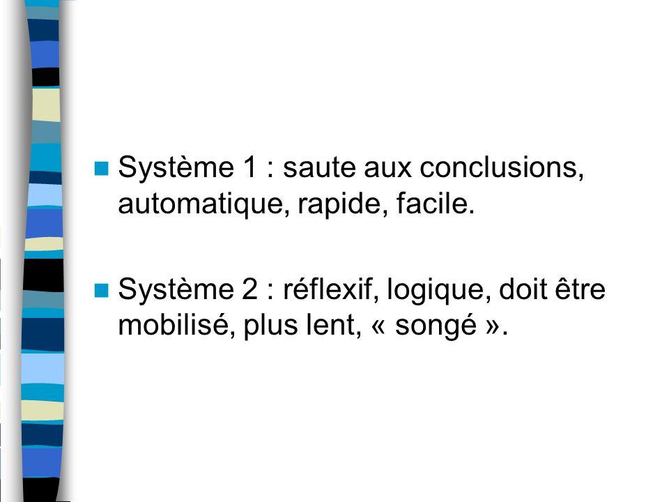 Système 1 : saute aux conclusions, automatique, rapide, facile.