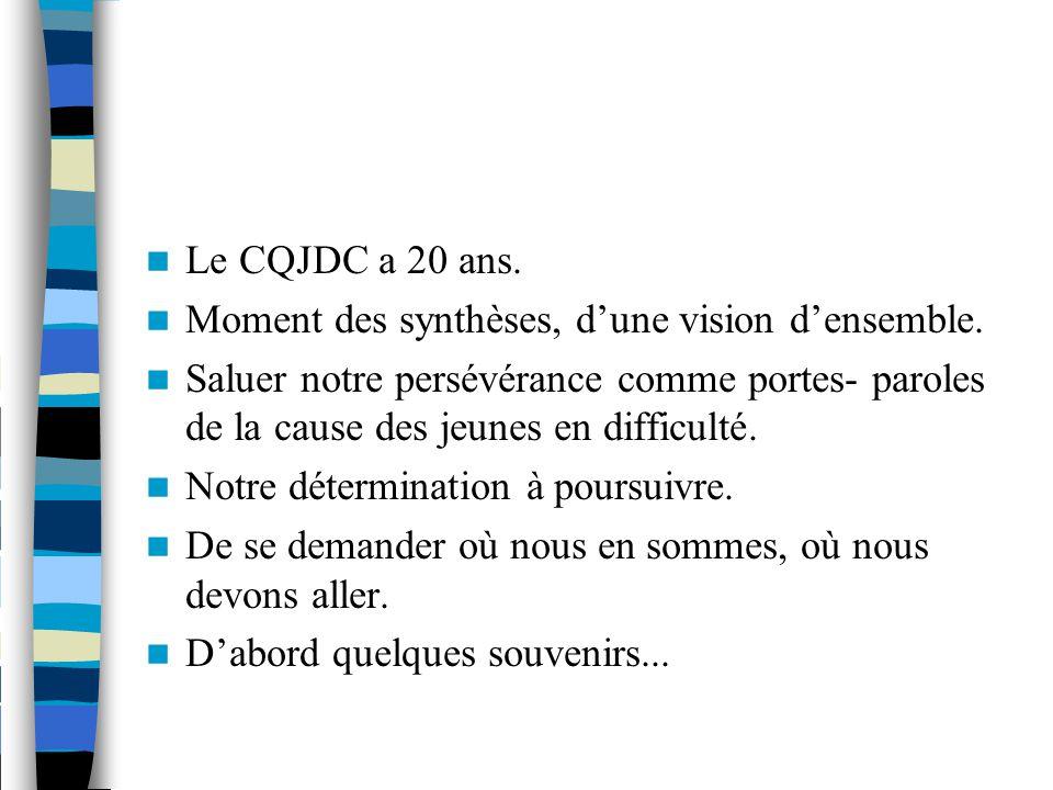Le CQJDC a 20 ans. Moment des synthèses, d'une vision d'ensemble.