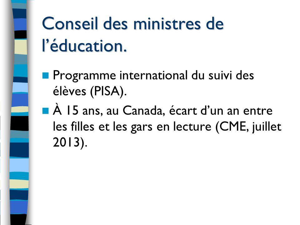 Conseil des ministres de l'éducation. Programme international du suivi des élèves (PISA).