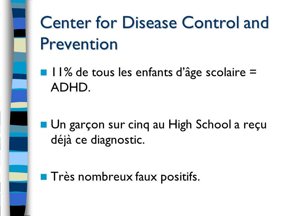 Center for Disease Control and Prevention 11% de tous les enfants d'âge scolaire = ADHD. Un garçon sur cinq au High School a reçu déjà ce diagnostic.