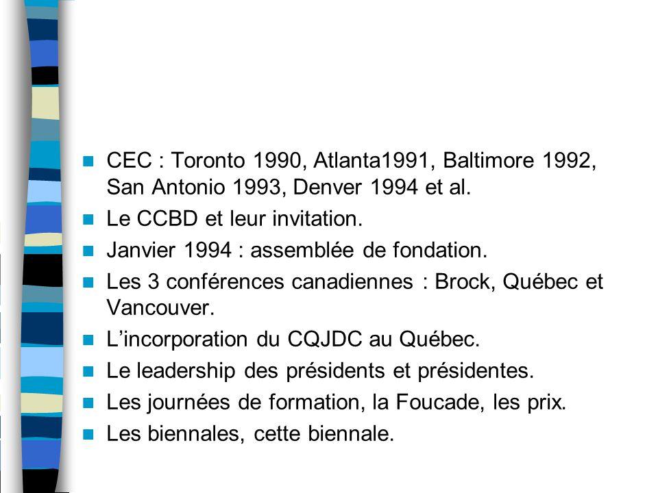 CEC : Toronto 1990, Atlanta1991, Baltimore 1992, San Antonio 1993, Denver 1994 et al.