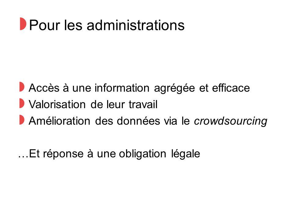◗ Pour les administrations ◗ Accès à une information agrégée et efficace ◗ Valorisation de leur travail ◗ Amélioration des données via le crowdsourcing …Et réponse à une obligation légale