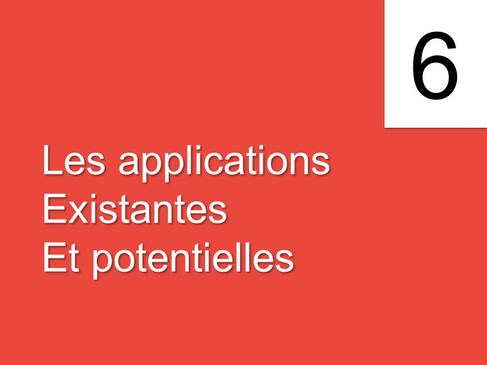 Les applications Existantes Et potentielles Les applications Existantes Et potentielles 6 6