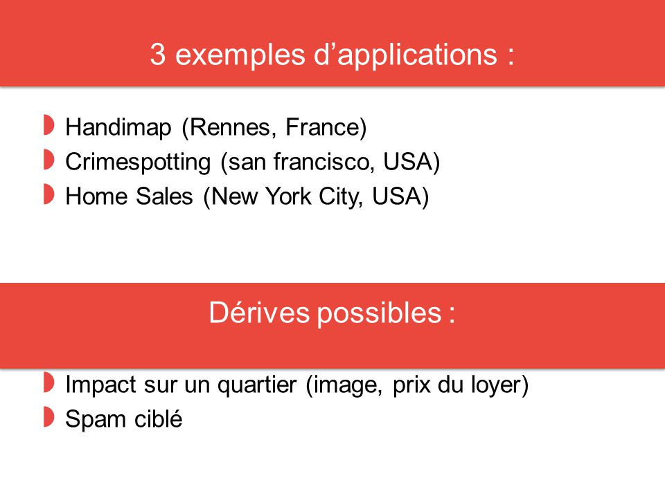 3 exemples d'applications : ◗ Handimap (Rennes, France) ◗ Crimespotting (san francisco, USA) ◗ Home Sales (New York City, USA) Dérives possibles : ◗ Impact sur un quartier (image, prix du loyer) ◗ Spam ciblé