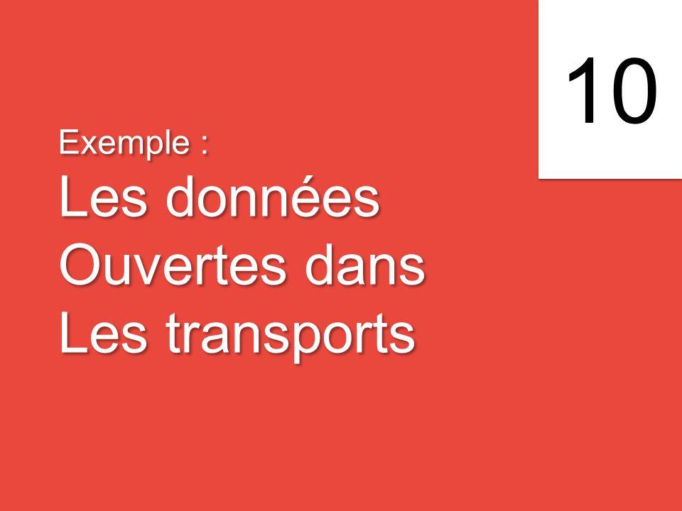 Exemple : Les données Ouvertes dans Les transports Exemple : Les données Ouvertes dans Les transports 10