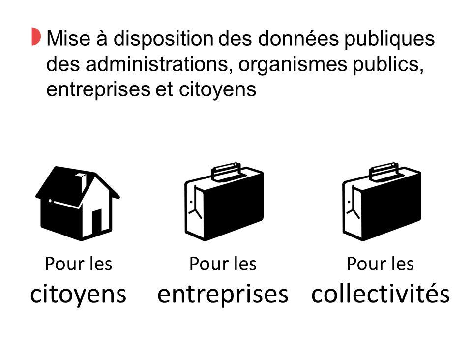 ◗ Mise à disposition des données publiques des administrations, organismes publics, entreprises et citoyens Pour les citoyens Pour les entreprises Pour les collectivités
