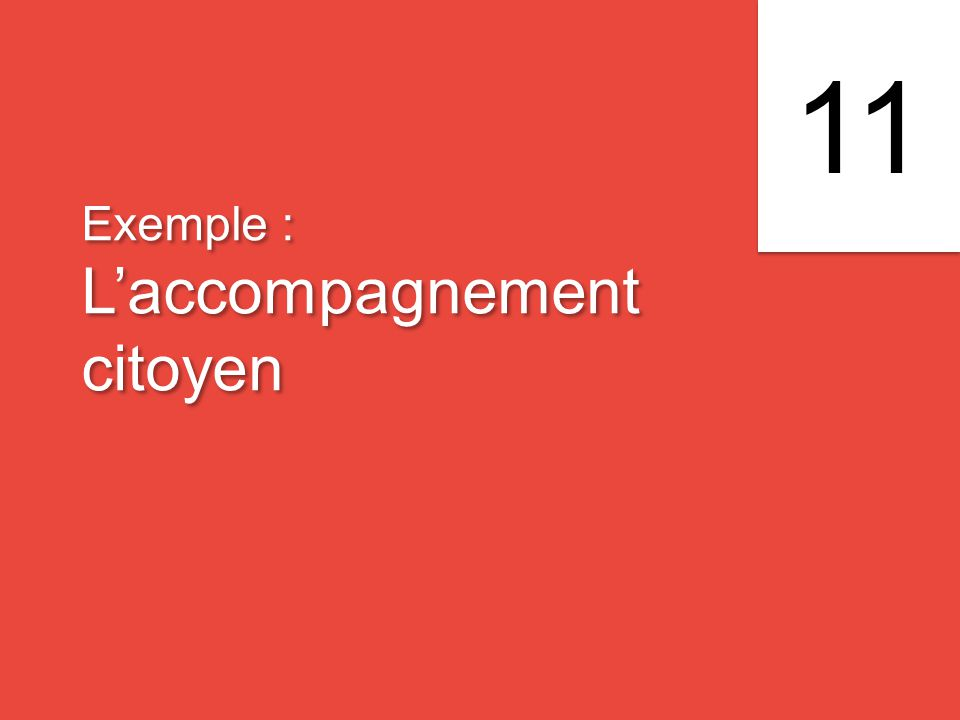 Exemple : L'accompagnement citoyen Exemple : L'accompagnement citoyen 11