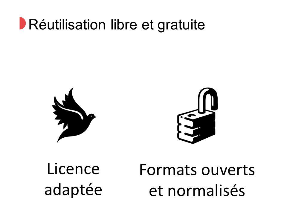 ◗ Réutilisation libre et gratuite Licence adaptée Formats ouverts et normalisés
