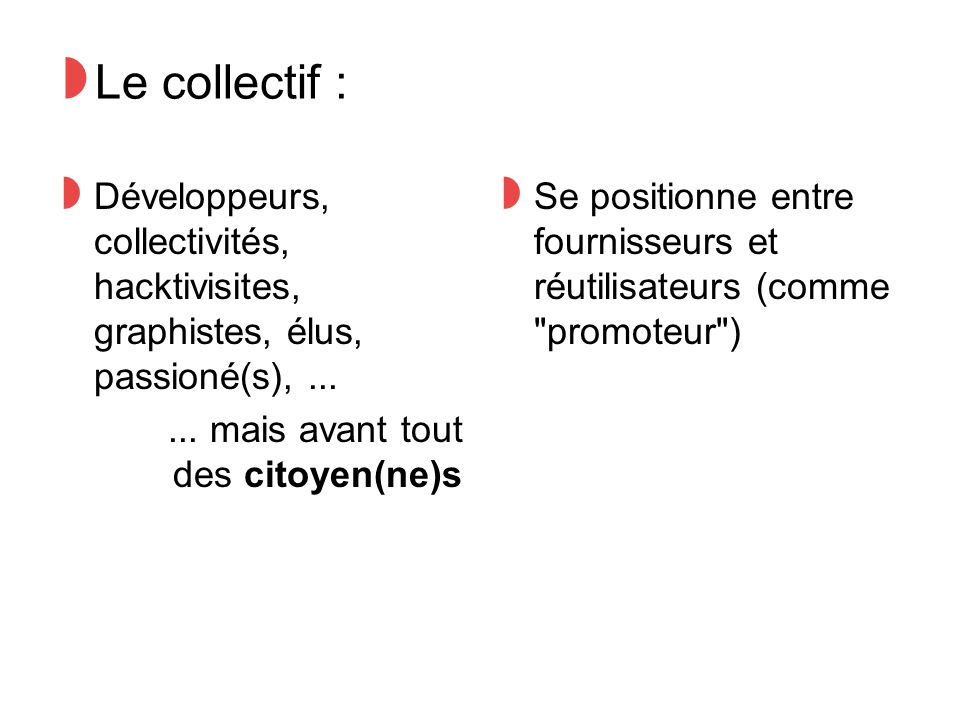◗ Trois acteurs, trois avancements : ◗ SNCF, ouverture progressive ◗ Grand Lyon, en cours de négociation ◗ TCL, situation bloquée ◗ Face au blocage : ◗ Solutions curatives : Lobbying, sensibilisation ◗ Solutions palliatives : Crowdsourcing...