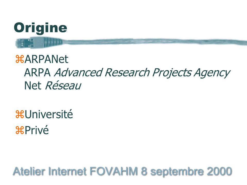 Origine zARPANet ARPA Advanced Research Projects Agency Net Réseau zUniversité zPrivé
