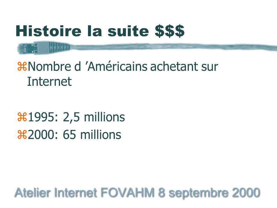 Histoire la suite $$$ zNombre d 'Américains achetant sur Internet z1995: 2,5 millions z2000: 65 millions