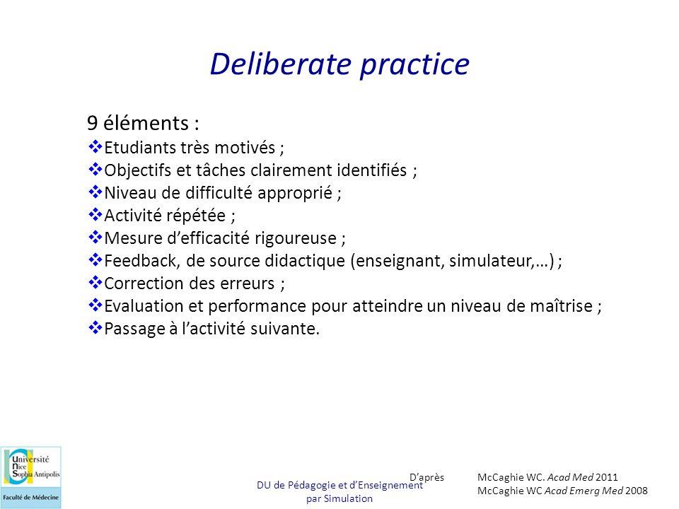 Deliberate practice 9 éléments :  Etudiants très motivés ;  Objectifs et tâches clairement identifiés ;  Niveau de difficulté approprié ;  Activit
