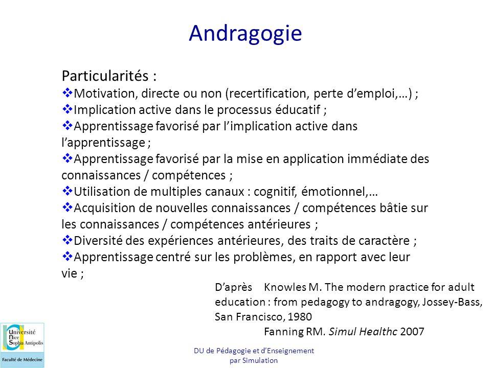 Andragogie Particularités :  Motivation, directe ou non (recertification, perte d'emploi,…) ;  Implication active dans le processus éducatif ;  App