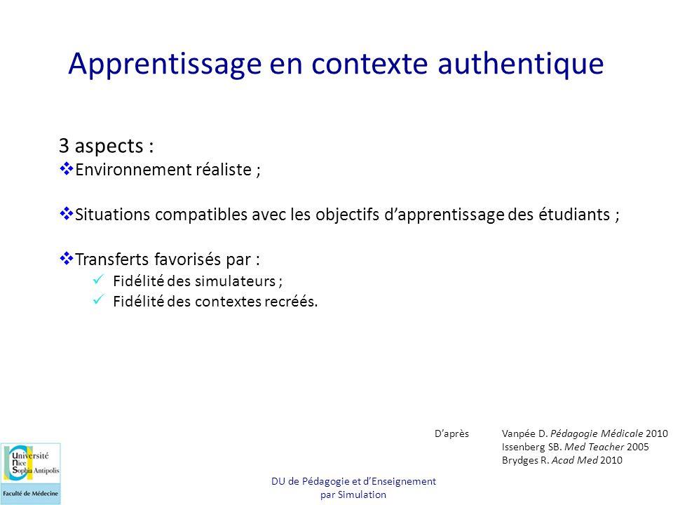 Apprentissage en contexte authentique 3 aspects :  Environnement réaliste ;  Situations compatibles avec les objectifs d'apprentissage des étudiants