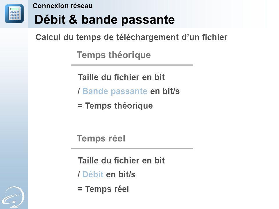 Connexion réseau Débit & bande passante Calcul du temps de téléchargement d'un fichier / Bande passante en bit/s Taille du fichier en bit Temps théorique = Temps théorique / Débit en bit/s Taille du fichier en bit Temps réel = Temps réel