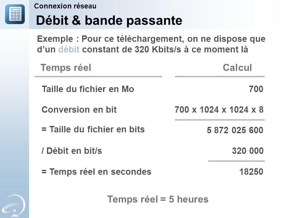Connexion réseau Débit & bande passante Exemple : Pour ce téléchargement, on ne dispose que d'un débit constant de 320 Kbits/s à ce moment là 700 x 1024 x 1024 x 8Conversion en bit Calcul Taille du fichier en Mo700 5 872 025 600 / Débit en bit/s320 000 = Temps réel en secondes18250 Temps réel = Taille du fichier en bits Temps réel = 5 heures