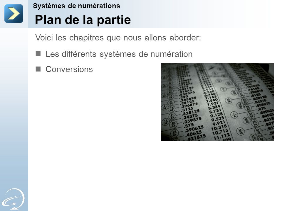 Plan de la partie Les différents systèmes de numération Conversions Voici les chapitres que nous allons aborder: Systèmes de numérations