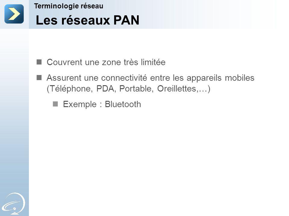 Les réseaux PAN Terminologie réseau Couvrent une zone très limitée Assurent une connectivité entre les appareils mobiles (Téléphone, PDA, Portable, Oreillettes,…) Exemple : Bluetooth