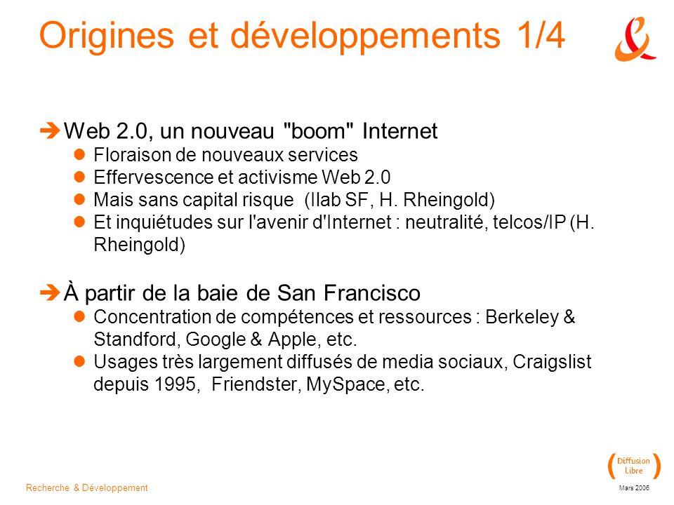 Recherche & Développement Mars 2006 Origines et développements 1/4  Web 2.0, un nouveau boom Internet Floraison de nouveaux services Effervescence et activisme Web 2.0 Mais sans capital risque (Ilab SF, H.
