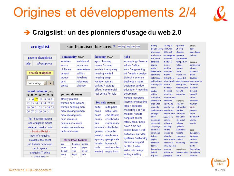 Recherche & Développement Mars 2006 Origines et développements 2/4  Craigslist : un des pionniers d'usage du web 2.0
