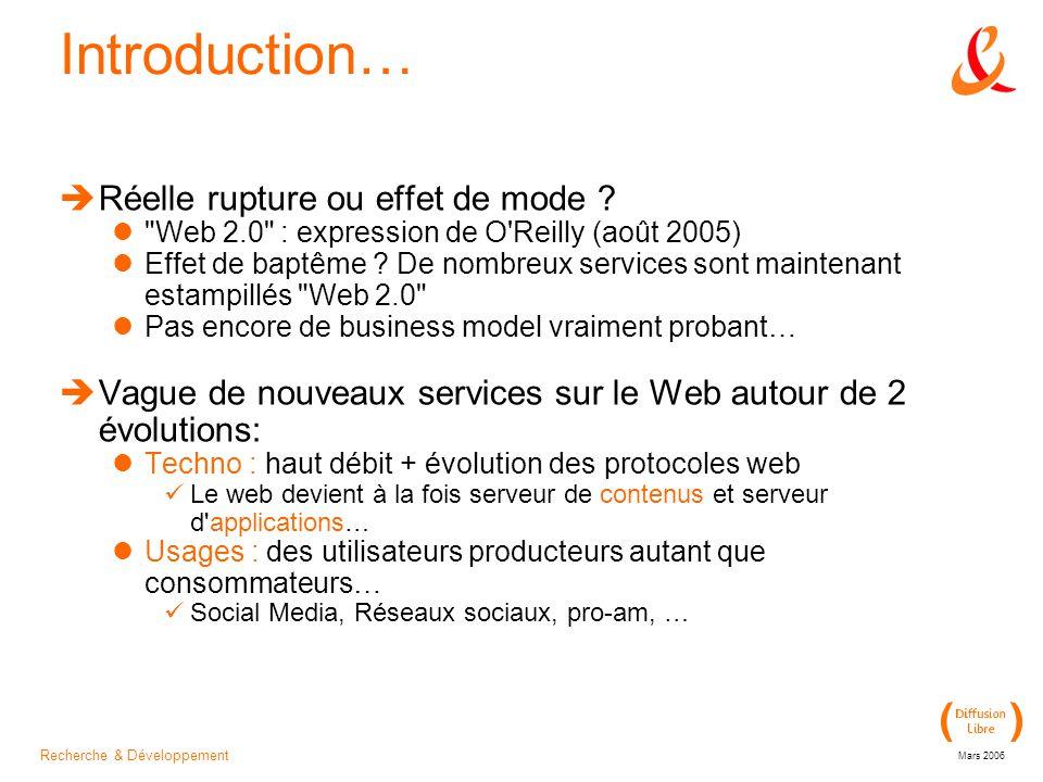 Recherche & Développement Mars 2006 Introduction…  Réelle rupture ou effet de mode .
