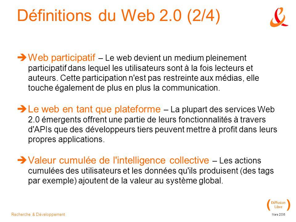 Recherche & Développement Mars 2006 Définitions du Web 2.0 (2/4)  Web participatif – Le web devient un medium pleinement participatif dans lequel les utilisateurs sont à la fois lecteurs et auteurs.