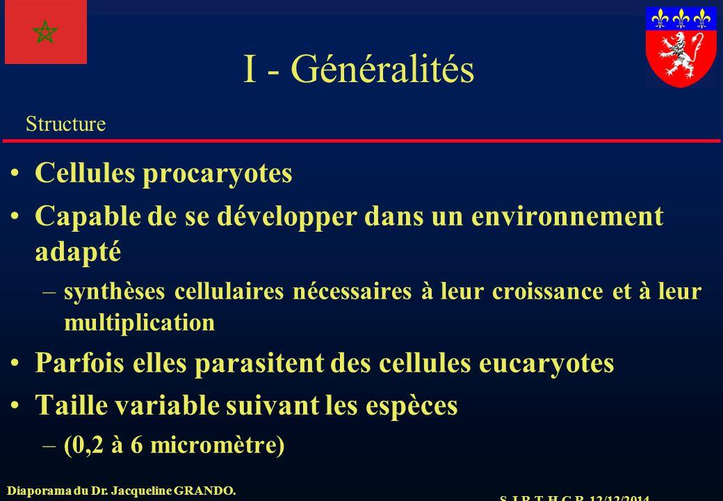 S.J.R.T. H.C.R. 12/12/2014 Structure Diaporama du Dr. Jacqueline GRANDO. I - Généralités Cellules procaryotes Capable de se développer dans un environ