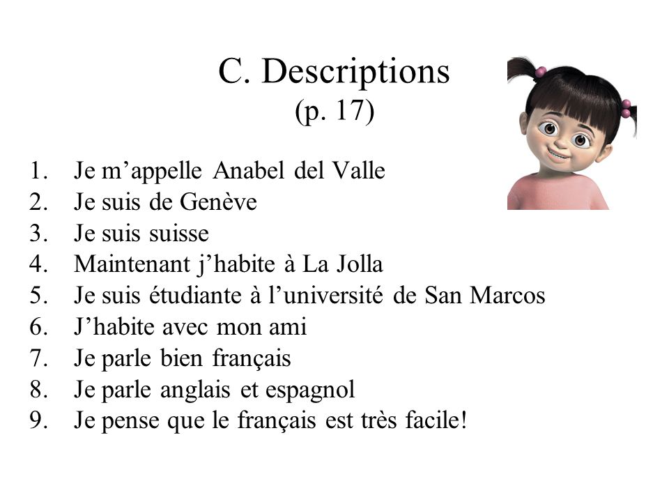 C. Descriptions (p.