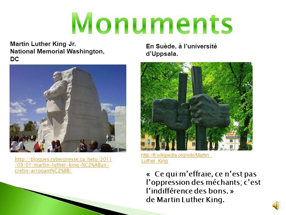 http://pedagogie.ac- montpellier.fr/disciplines/ anglais/archives.html http://fr.wikipedia.org/wiki/Coretta_Sc ott_King « Tout peut être important, car tout le monde peut servir à quelque chose » de Martin Luther King