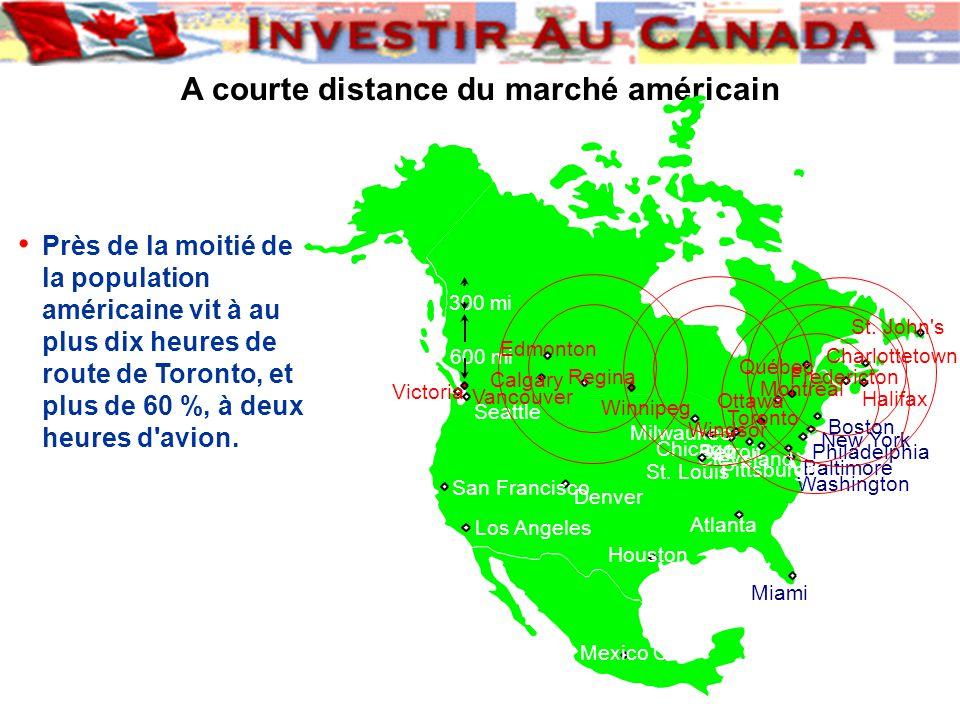 A courte distance du marché américain Près de la moitié de la population américaine vit à au plus dix heures de route de Toronto, et plus de 60 %, à deux heures d avion.