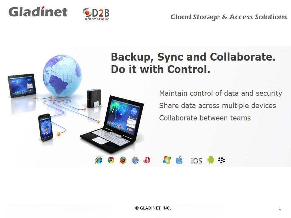 Historique Gladinet Fondé en 2008 en Floride, Gladinet fournit des solutions en ligne d accès, de stockage, de partage de fichiers, de sauvegarde, de collaboration et de synchronisation.